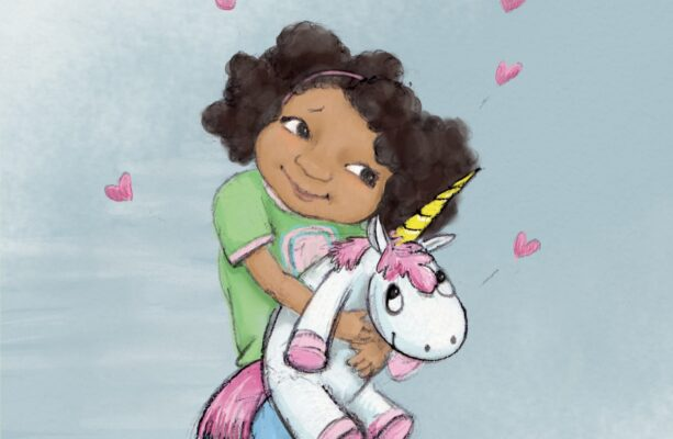 Illustration of Sammi hugging a unicorn for video by illustrator Priscilla Prentice