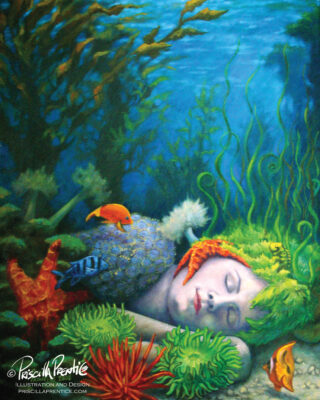 Painting of Amphitrite Sleeping under the sea surrounded by coral and fish by artist Priscilla Prentice