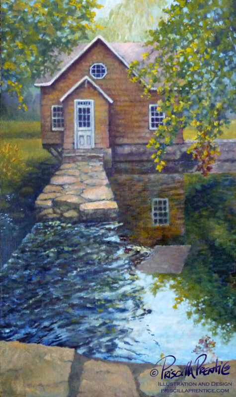 painting looking at grist mill over a waterfall