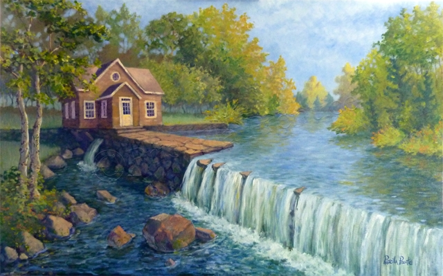 painting looking at grist mill over a waterfall by Fine Artist Priscilla Prentice