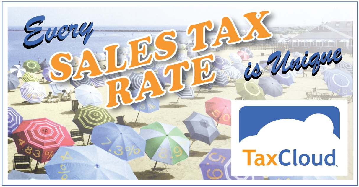 sales tax rates and beach umbrella scene