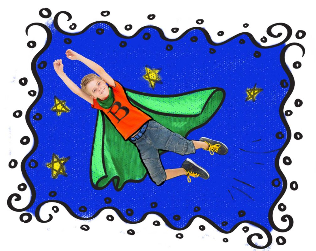 boy with cape flying