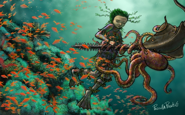 undersea person helping an octopus and fish