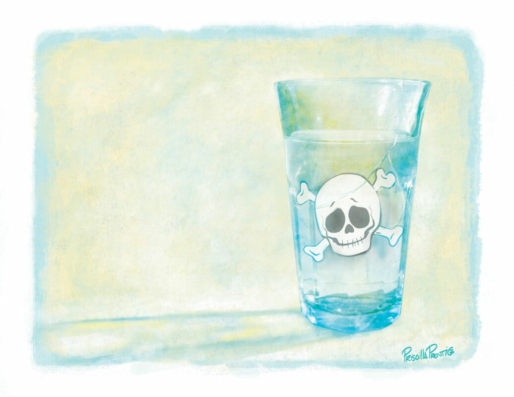 Glass of water with a skull in it