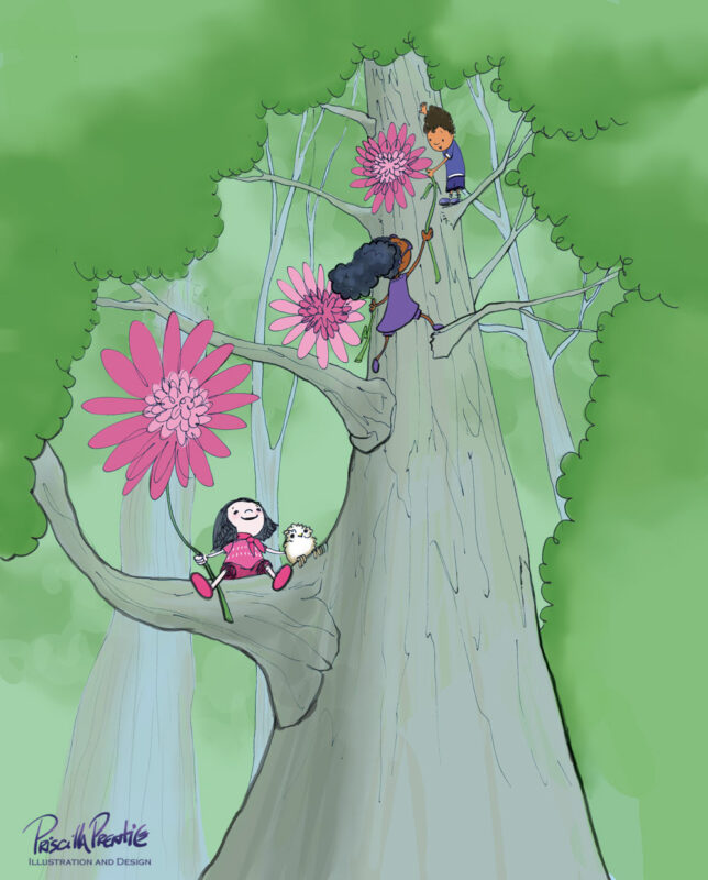drawing of children climbing a tree