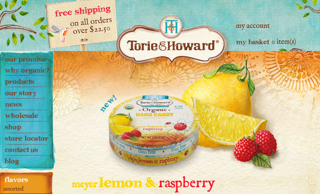 lemon and raspberry web site screen shot