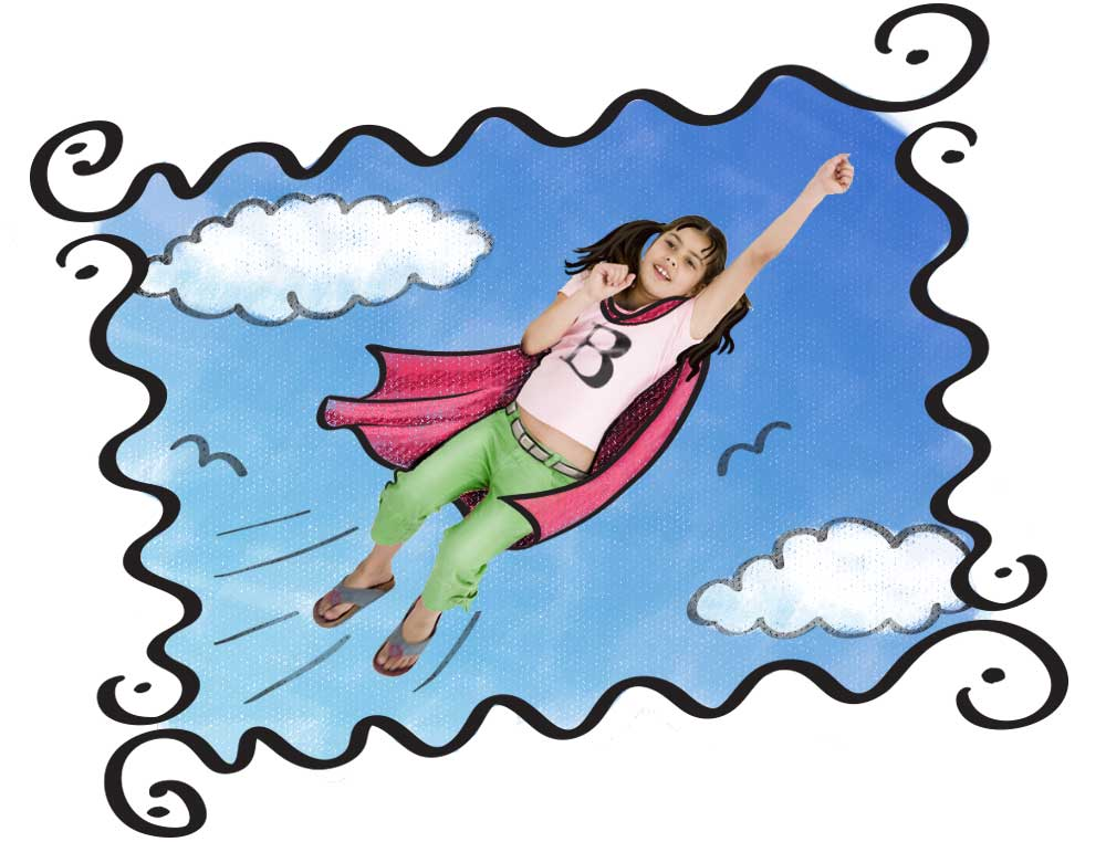Illustration of girl flying