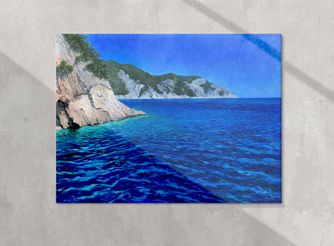 Painting of Greece ocean with cliffs by Priscilla Prentice shown on a gallery wall by Priscilla Prentice