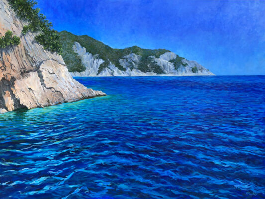 Fine Art Painting of the ocean and cliffs in Greece by Priscilla Prentice