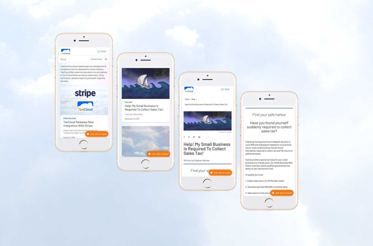 User interface design for iphones on a cloud filled background for TaxCloud from UX/UI Designer Priscilla Prentice